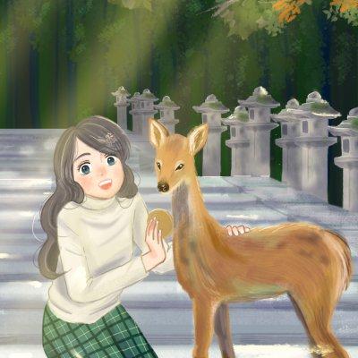 奈良小鹿與女孩