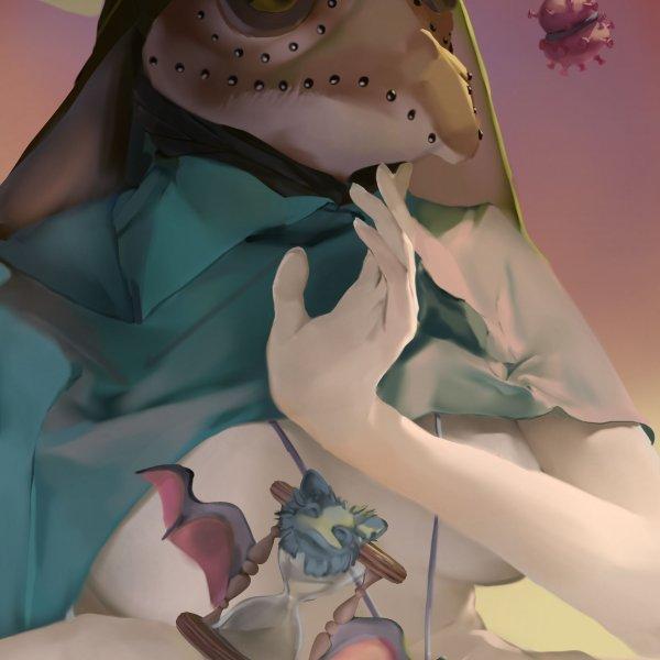 female plague doctor&corona