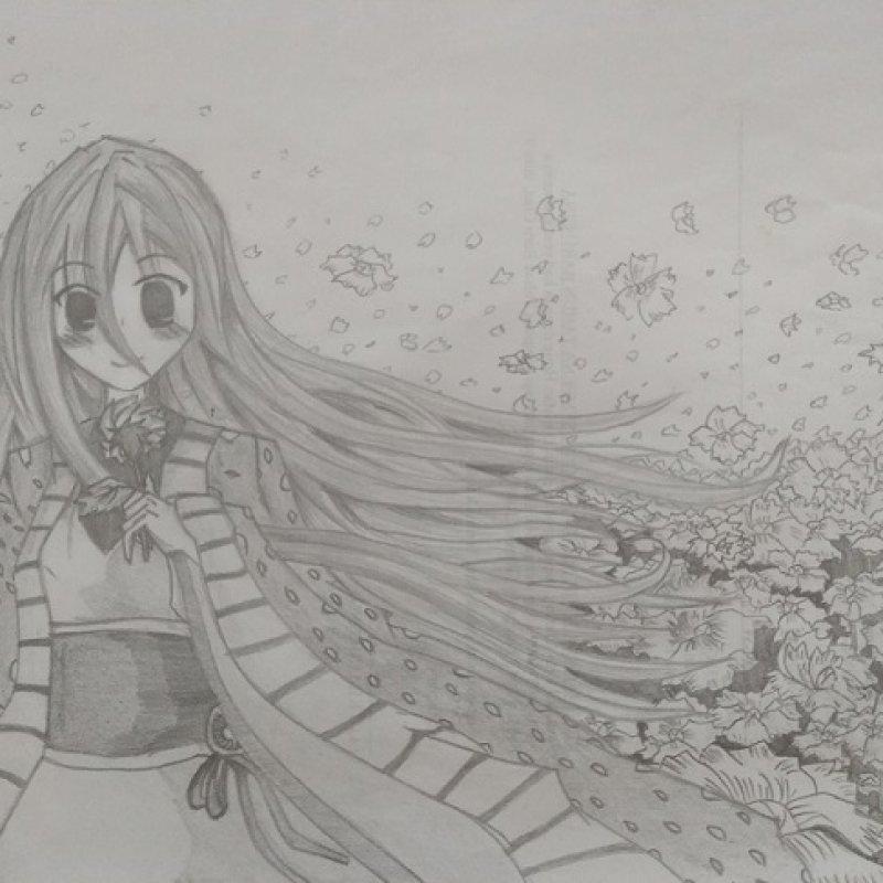 花田中的少女